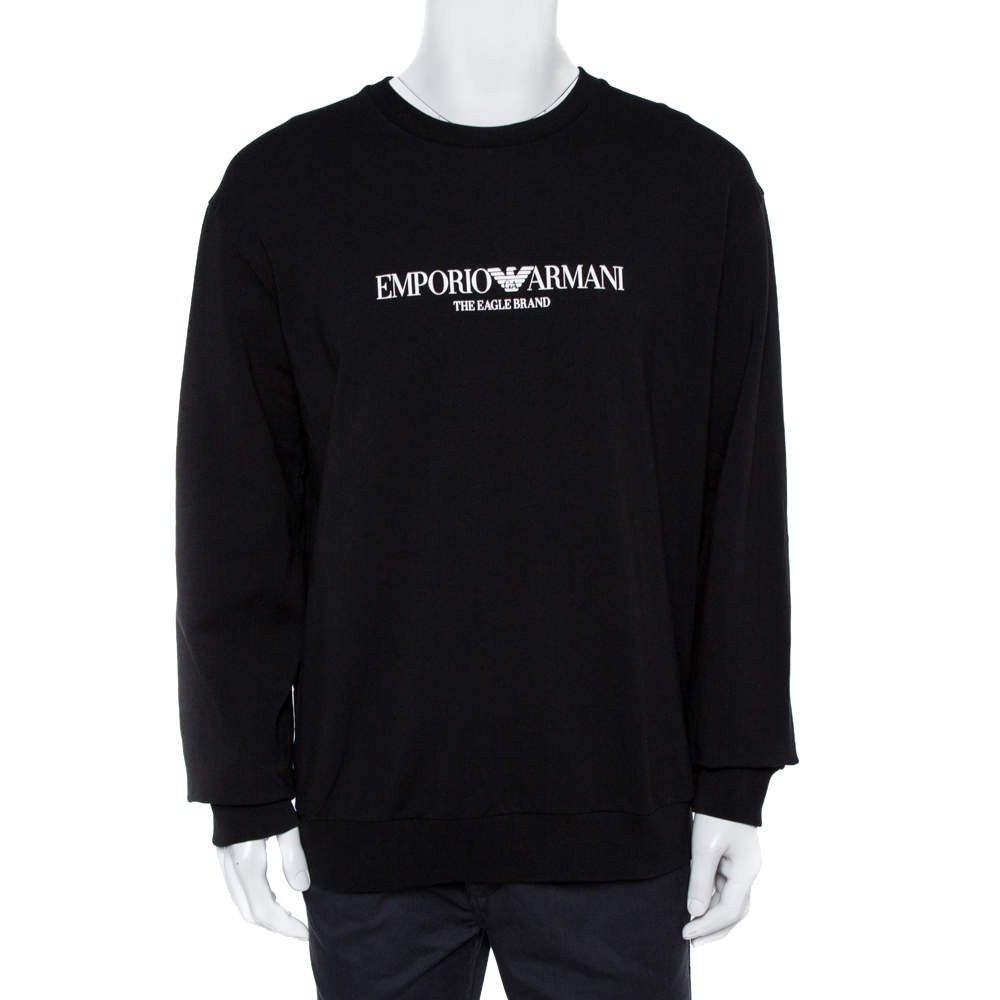 Emporio Armani Black Logo Print Cotton Sweatshirt 3XL