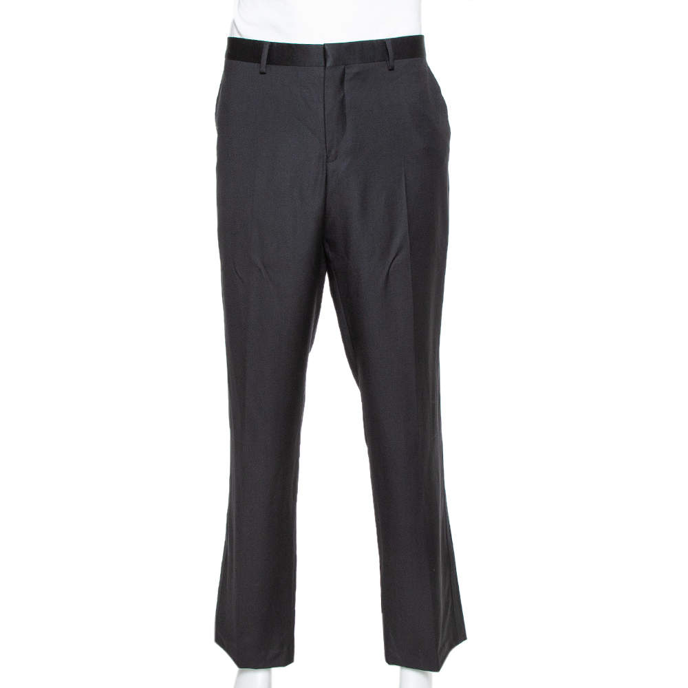 Emporio Armani Black Wool Tailored Trousers 4XL