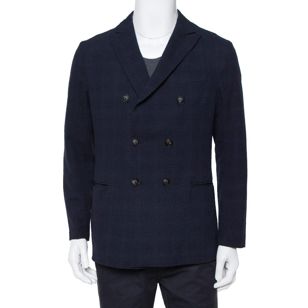 Emporio Armani Midnight Blue Checkered Crinkled Crepe Double Breasted Blazer XL