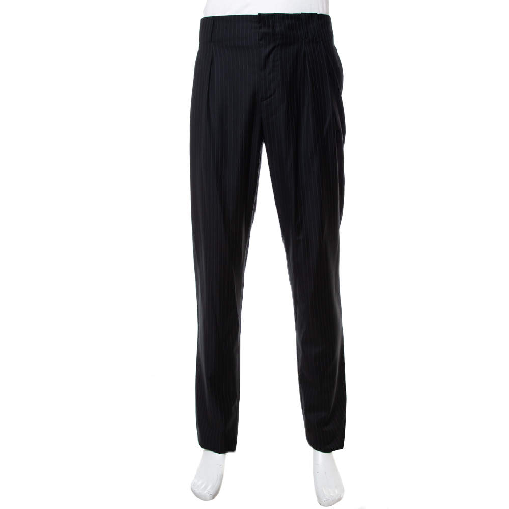 Emporio Armani Black Striped Wool Tapered Leg Trousers XL