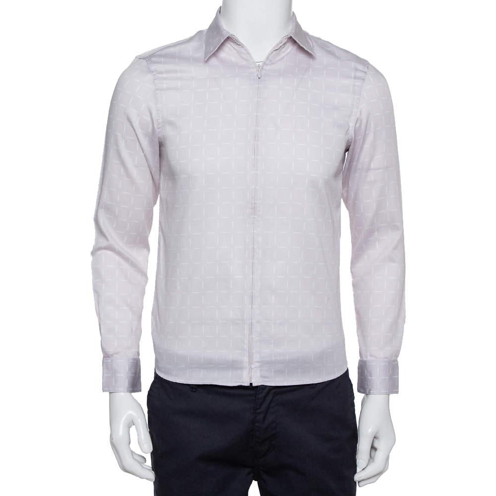 Emporio Armani Beige Printed Cotton Zipper Front Shirt M