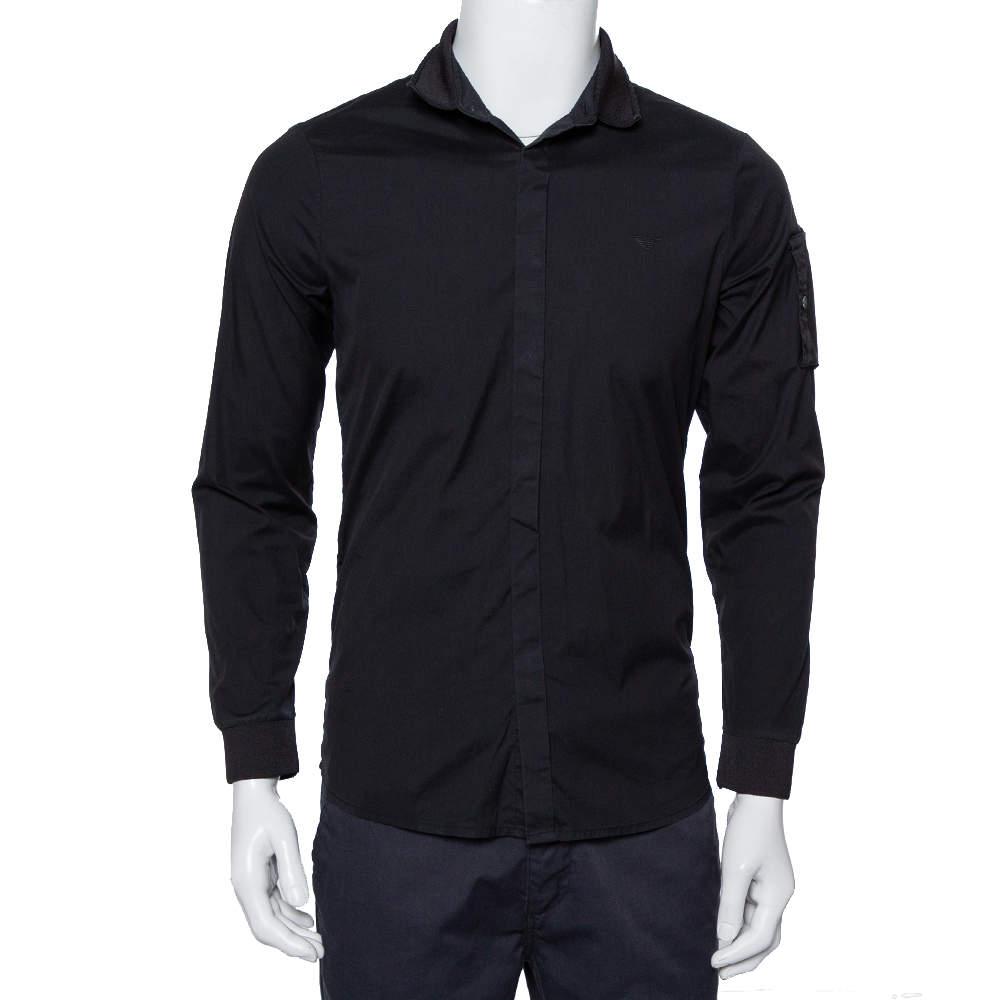 Emporio Armani Black Cotton Knit Trim Detail Button Front Shirt S