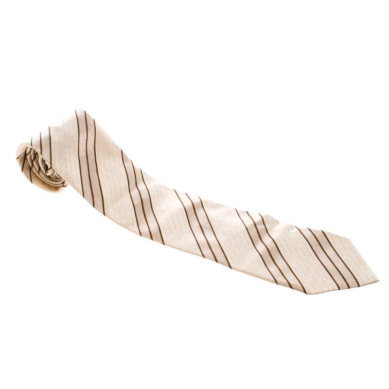 Ermenegildo Zegna Beige Diagonal Striped and Dotted Silk Jacquard Tie