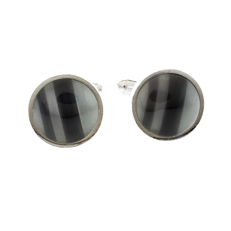 Ermenegildo Zegna Grey Inlay Silver Tone Round Cufflinks