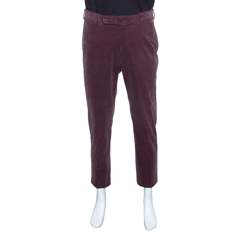 Ermenegildo Zegna Cashco Comfort Dull Purple Slim Fit Corduroy Trousers L