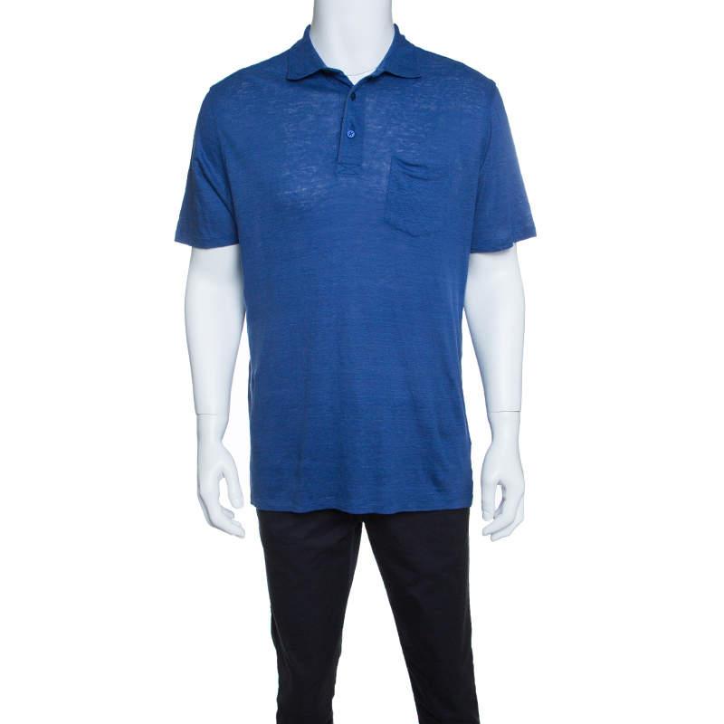 Ermenegildo Zegna Blue Slub Linen Short Sleeve Polo T-Shirt L