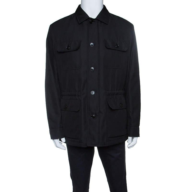 Ermenegildo Zegna Black Patch Pocket Detail Button Front Jacket XL