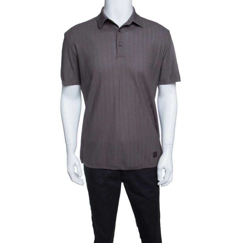 Ermenegildo Zegna for Maserati Grey Knit Herringbone Pattern Polo T-Shirt M