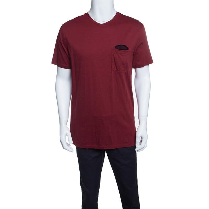 Ermenegildo Zegna Red Cotton Crew Neck Short Sleeve T-Shirt L