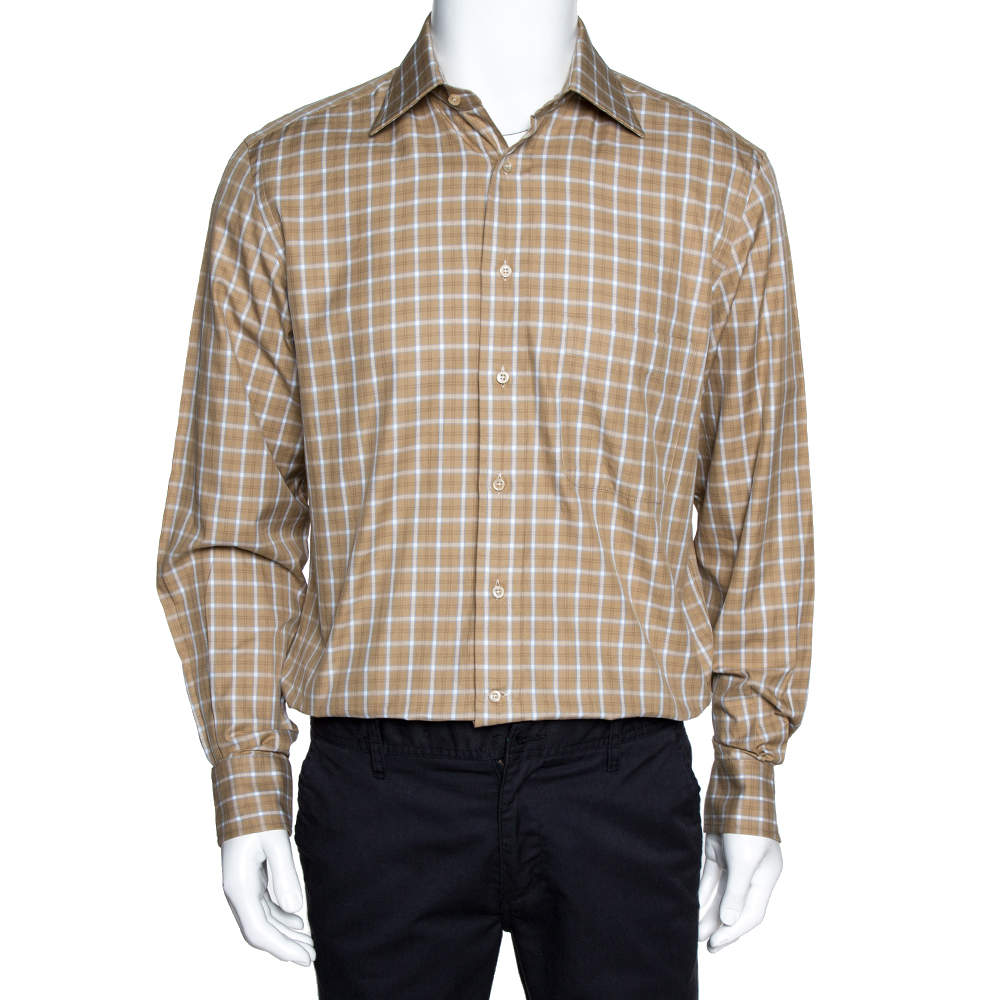 Ermenegildo Zegna Beige Checked Cotton Long Sleeve Shirt M