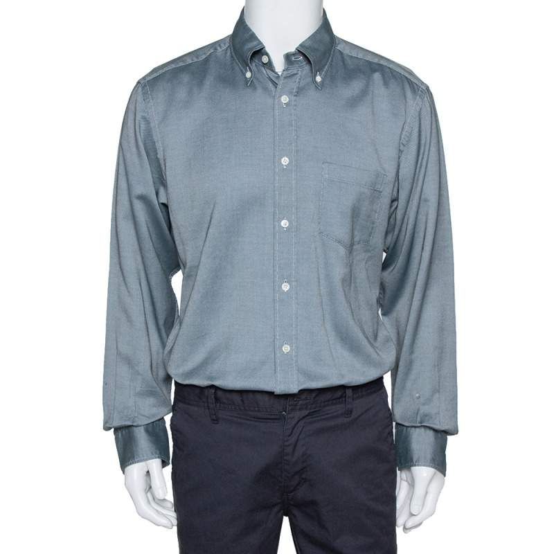 Ermenegildo Zegna Monochrome Oxford Cotton Long Sleeve Shirt XL