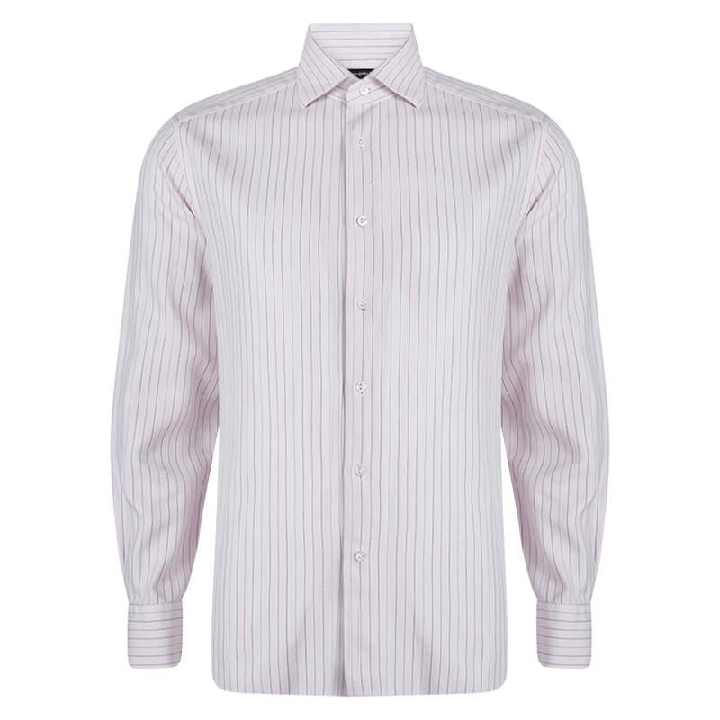 Ermenegildo Zegna Pink Cotton Striped Long Sleeve Button Front Shirt XXL