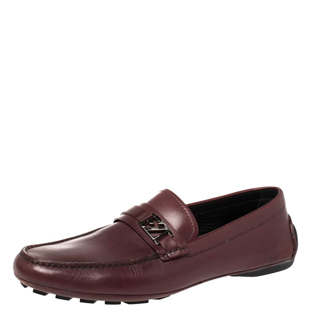 Ermenegildo Zegna Burgundy Leather Loafers Size 44
