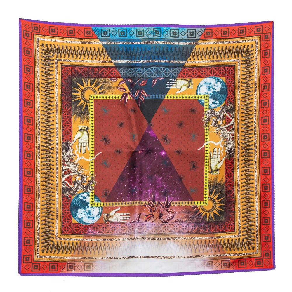 Etro Multicolor Universe Print Silk Pocket Square