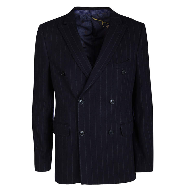 Etro Navy Blue Wool Blend Chalk Striped Double Breasted Blazer L