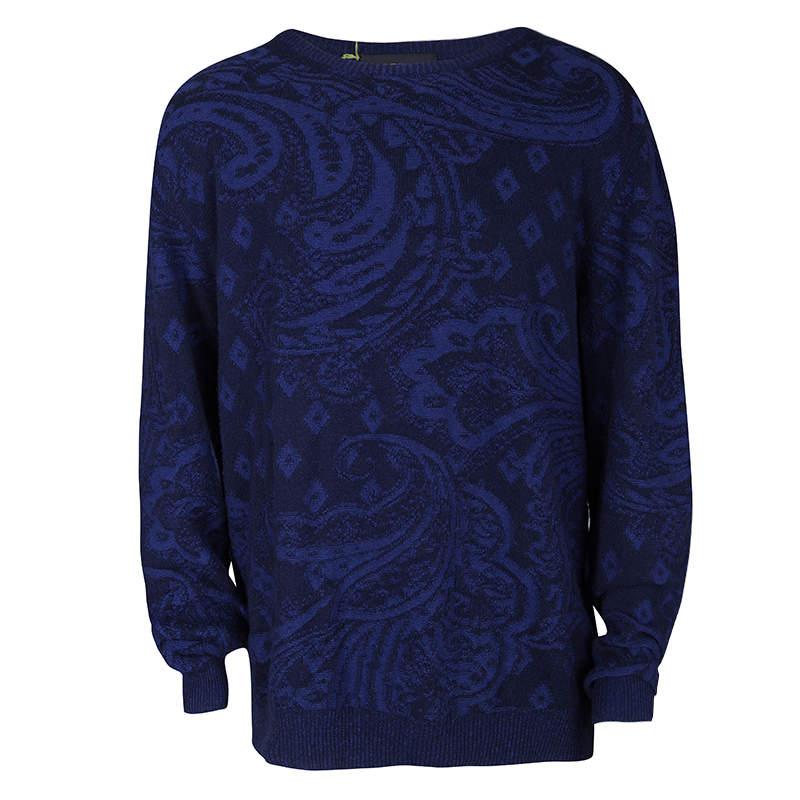 Etro Navy Blue Cotton Cashmere Patterned Knit Sweater 2XL