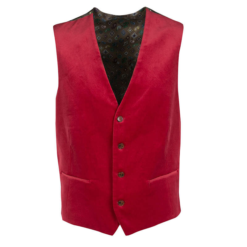 Etro Red Velvet Printed Silk Panel Detail Minete Vest L