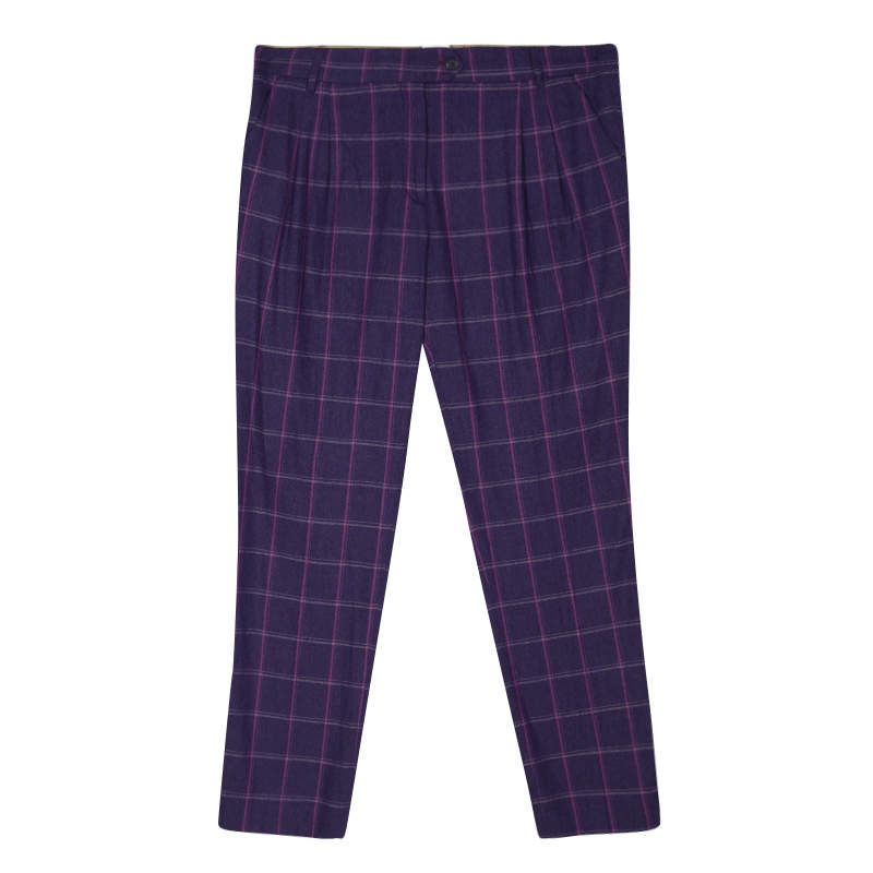 Etro Purple Checked Wool Tailored Trousers M