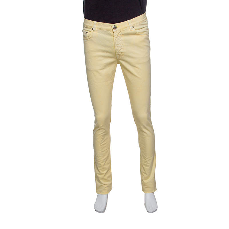 Etro Yellow Washed Effect Straight Fit Jeans S