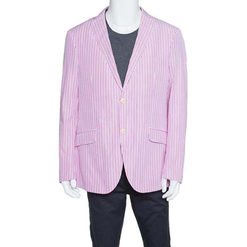 Etro Pink and White Striped Cotton Tailored Blazer XL