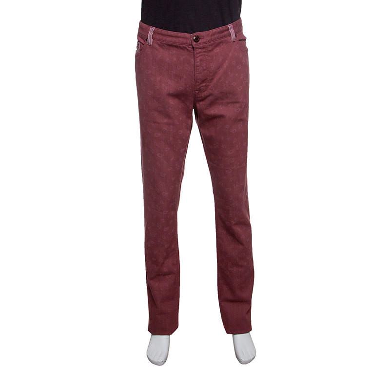 Etro Red Paisley Printed Denim Jeans 2XL