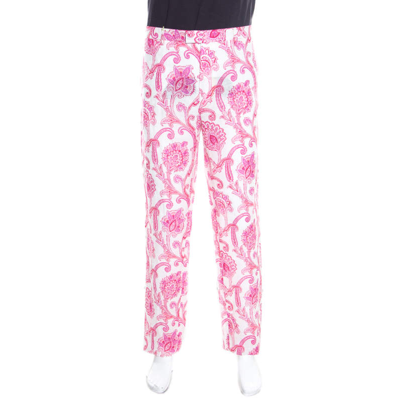 Etro White and Pink Paisley and Floral Printed Linen Mexico Trousers XXL