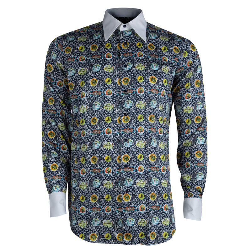 Etro Floral Printed Cotton Contrast Collar Button Front Shirt M
