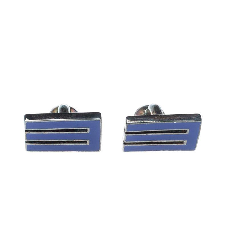 Etro E Blue Enamel Silver Tone Cufflinks