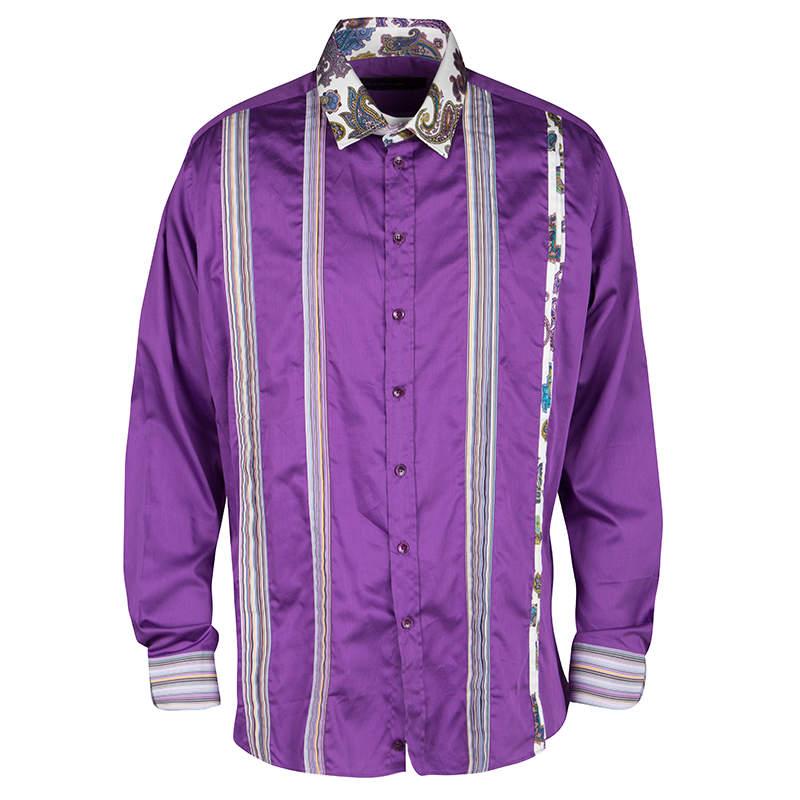 Etro Purple Pleat Detail Long Sleeve Button Front Cotton Shirt L