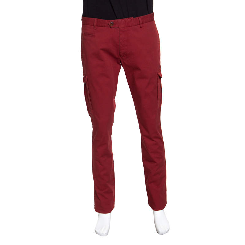 Etro Red Cotton Slim Fit Overdyed Pants L