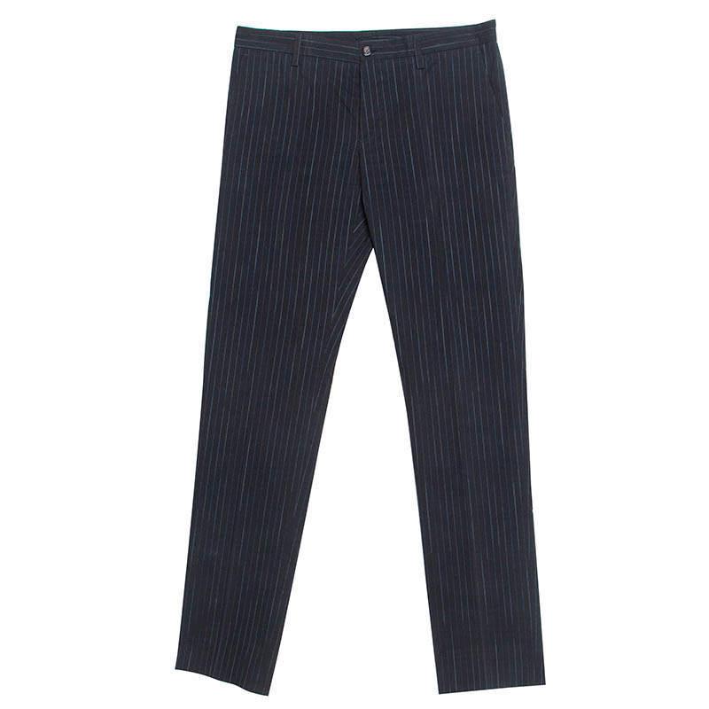 Etro Black Pin Striped Cotton Tailored Tousers S