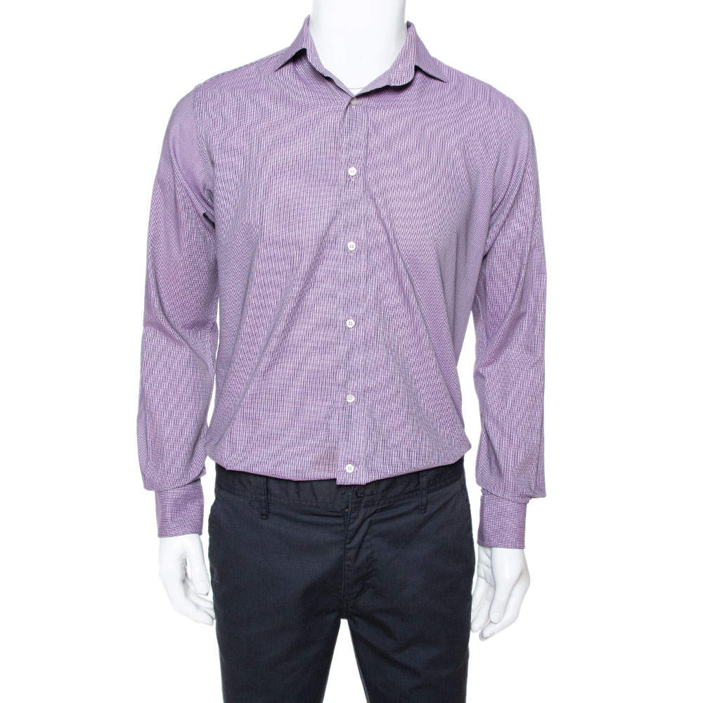 Etro Purple Houndstooth Pattern Cotton Long Sleeve Shirt M