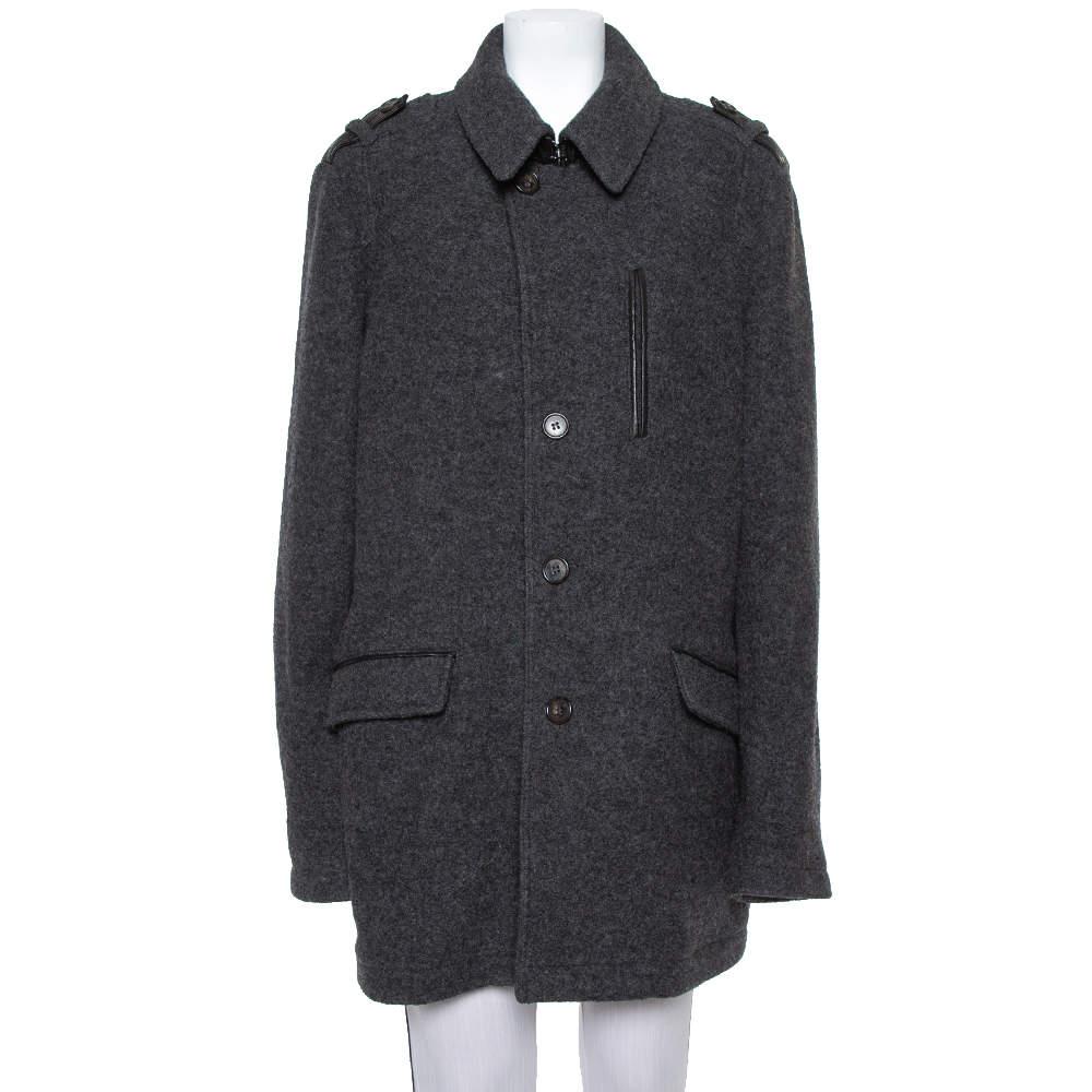 Etro Dark Grey Wool Mid-Length Coat XL