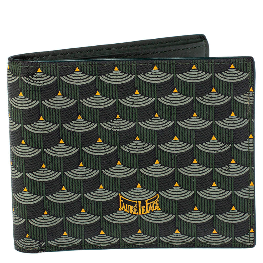 Faure Le Page Green Coated Canvas Bifold Wallet