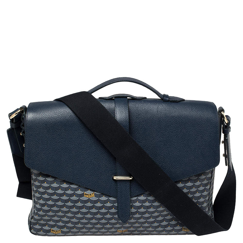 Faure Le Page Blue Coated Canvas and Leather Express 36 Messenger Bag