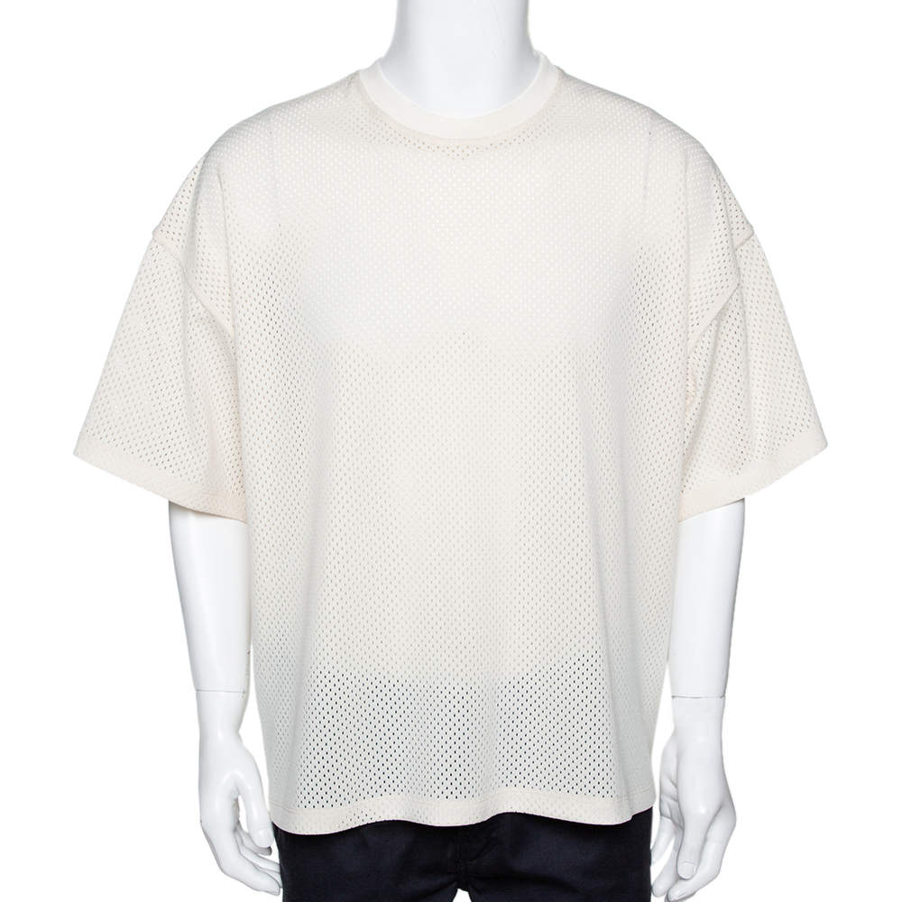 Fear of God Fifth Collection Cream Perforated Knit Oversized T Shirt S