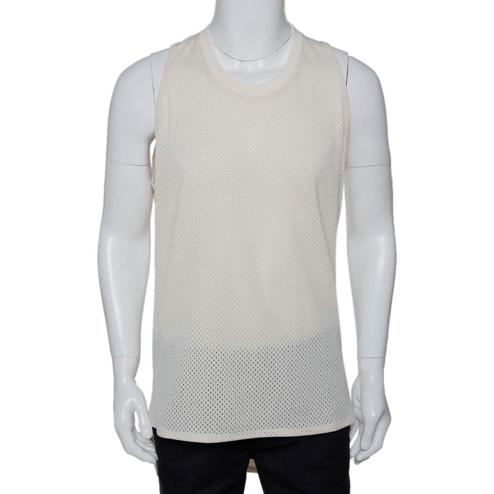 Fear of God Fifth Collection Cream Perforated Knit Sleeveless T Shirt S