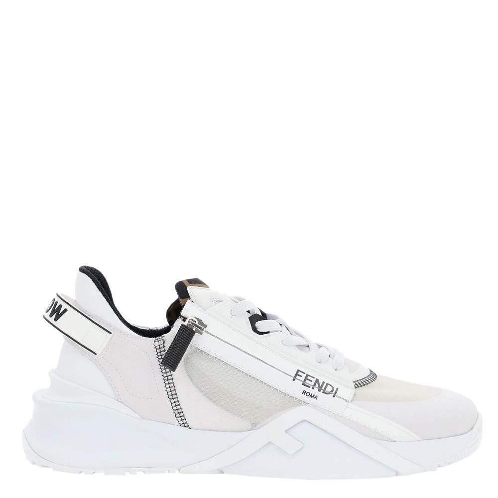 Fendi White Nylon Low Top Flow Sneakers EU 41