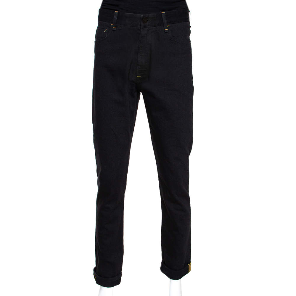 Fendi Black Denim Folded Hem Straight Leg Jeans M