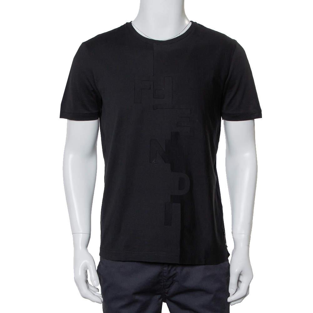 Fendi Black Cotton Logo Detail Crewneck T-Shirt M