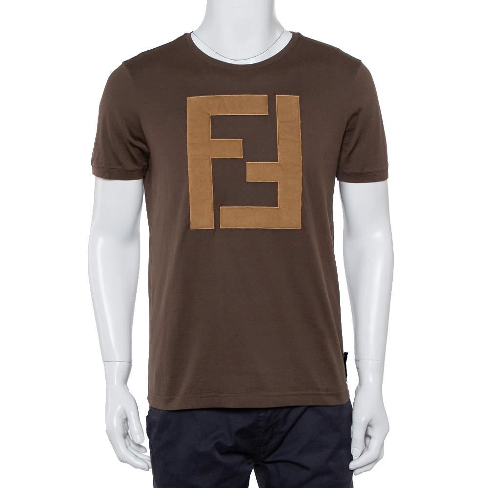 Fendi Brown Cotton Logo Applique Crewneck T-Shirt L