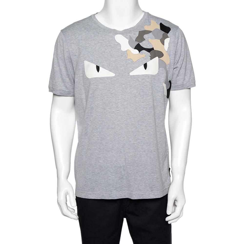 Fendi Grey Cotton Monster Eyes Leather Patch Detail Crewneck T-Shirt XXL