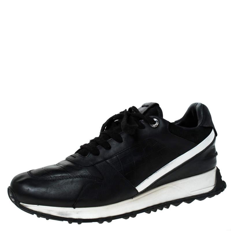 Fendi Black Croc Embossed Leather Sneakers Size 41