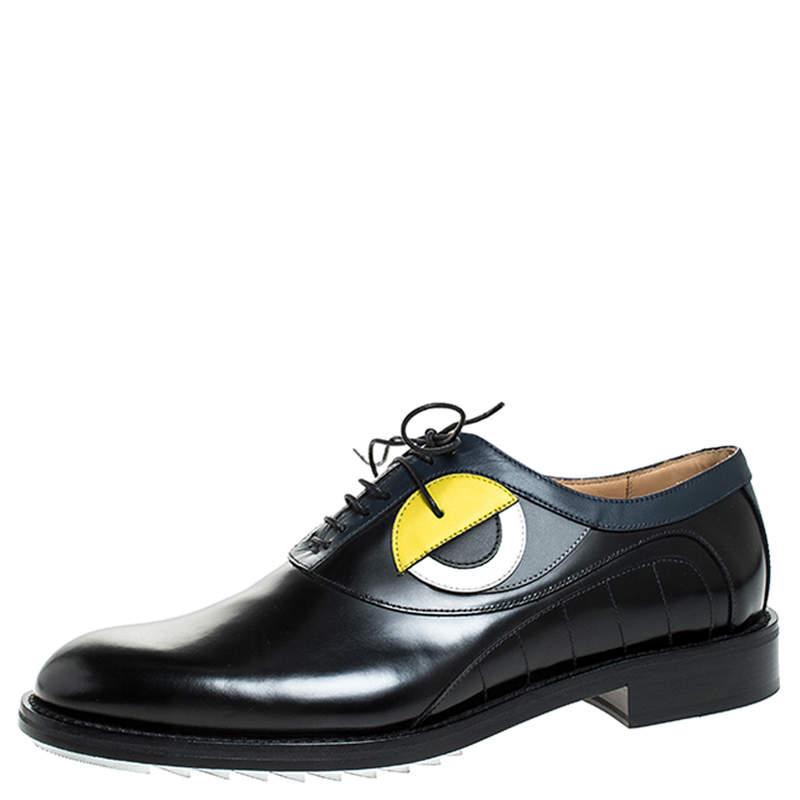 حذاء أوكسفورد فندي عيون جلد أسود مقاس 43