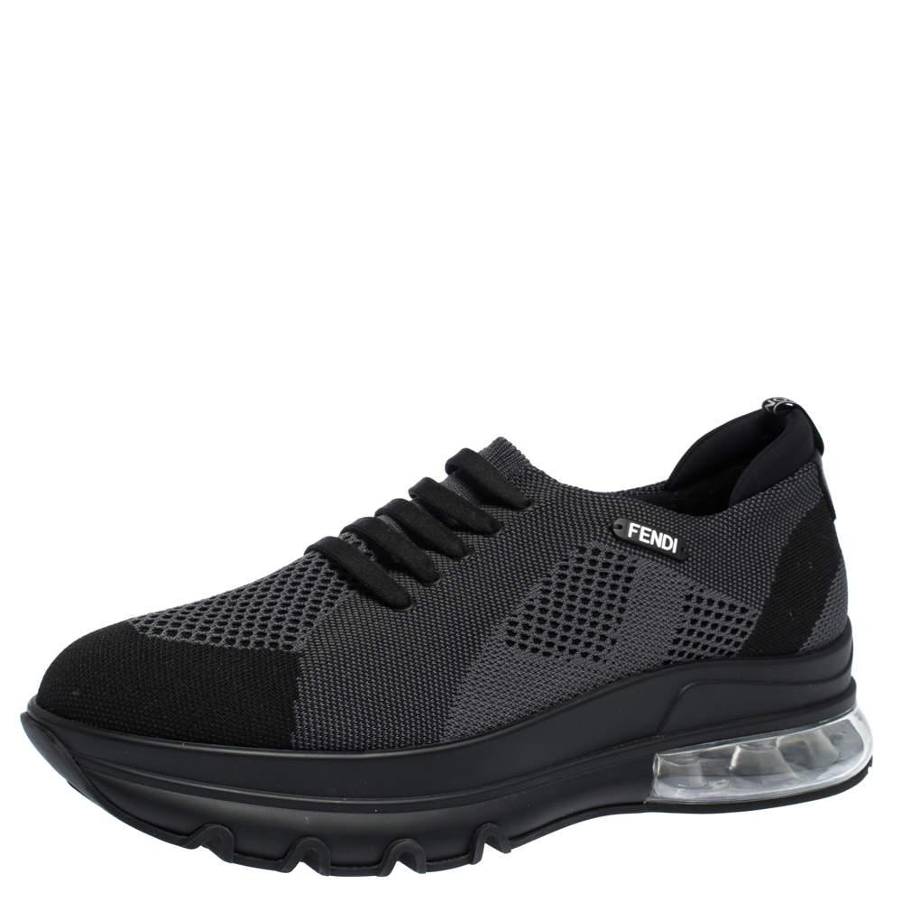 Fendi Black Mesh Lace Slip On Sneakers Size 44