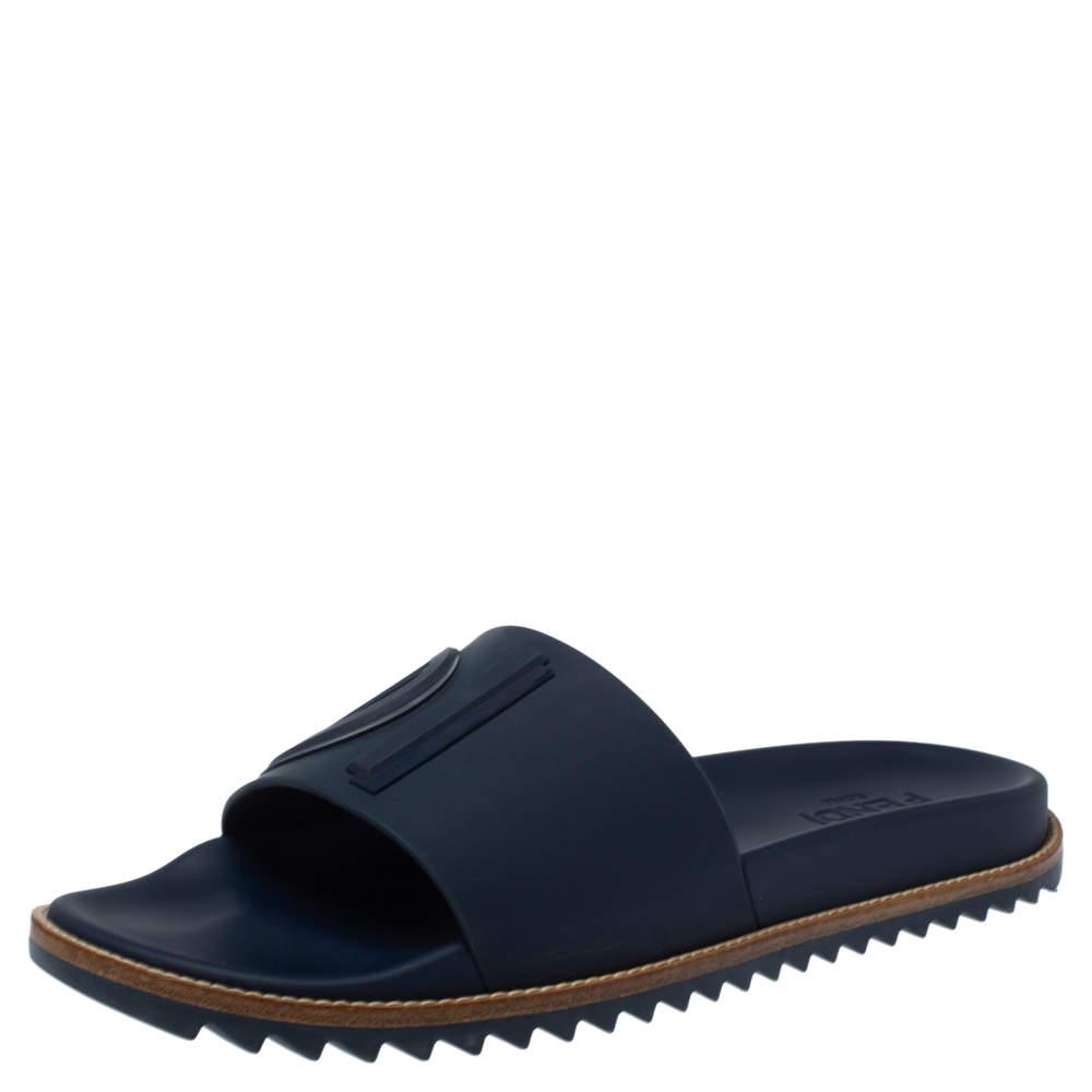 Fendi Blue Rubber Embossed Fendi Logo Slide Sandals Size 44
