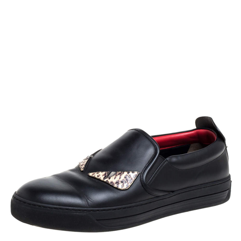 Fendi Black Leather And Snakeskin Trim Monster Spikes Slip On Sneakers Size 41