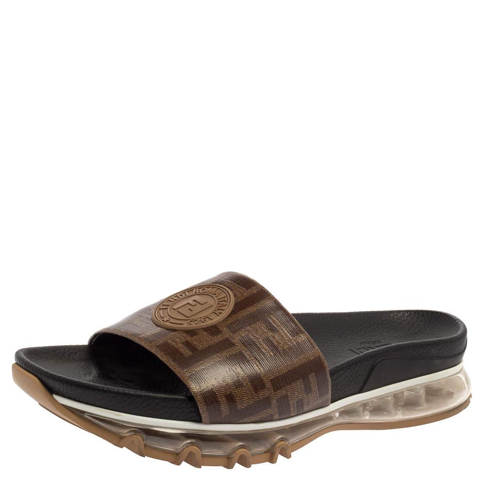 Fendi Brown Zucca Coated Canvas Embellished Flat Slide Sandals Size 43