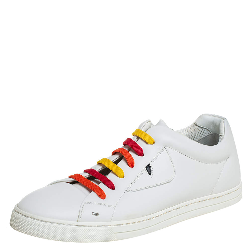 Fendi White Leather Monster Low Top Sneakers Size 40