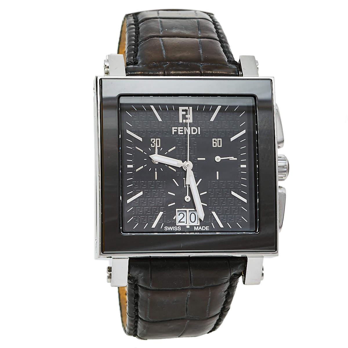 Fendi Black Ceramic Stainless Steel Quadro 6500G Men's Wristwatch 39 mm